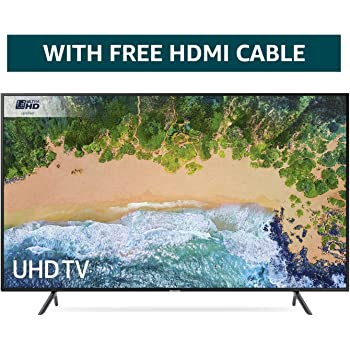 Samsung 75NU7100 75-Inch Ultra HD Smart 4K TV - Charcoal Black (2018 Model) + FREE Amazon High-Speed 0.9M HDMI 2.0 cable
