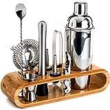 مجموعة أدوات للبار: مجموعة ادوات بار من 11 قطعة مع حامل انيق من الخيزران - مجموعة ادوات بار مثالية للمنزل ورجاجة كوكتيل مارتي
