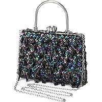 UBORSE Abendtasche Damen Diamant Clutch Bag Kette Shiny Strass Handtasche Umhängetasche für Hochzeit Party - Dunkel Blau