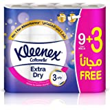 Kleenex Toilet Paper Extra Dry - Pack of 12 Bath Tissues Rolls, 160 Tissues x 3 Ply