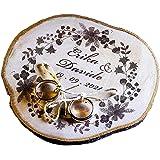 Porta fedi su fetta di legno, circa 10/12 cm, portafedi personalizzato per matrimonio o altro evento speciale anniversario, f