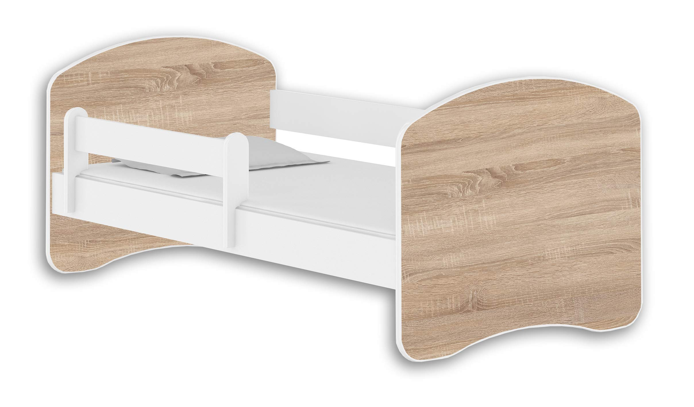 ACMA II TODDLER CHILDREN KIDS BED + FREE MATTRESS DRAWER WHITE 140x70 160x80 180x80 (140x70 cm, White - Sonoma Wood) ACMA Dimensions : 144 cm x 75 cm x 62 cm For safety all the edges of the bed are covered with a special PCV material The bed is proper for kids up to 100 kg 1