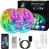 Bonve Pet 12M Tiras LED RGB 5050, Bluetooth Musical Tiras LED 12V Tiras de Luces LED Iluminación, Control de APP y Remoto Con