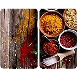 WENKO Protection plaque de cuisson, «Epices», plaque de protection induction, gazinière, vitrocéramique, verre trempé, Lot de