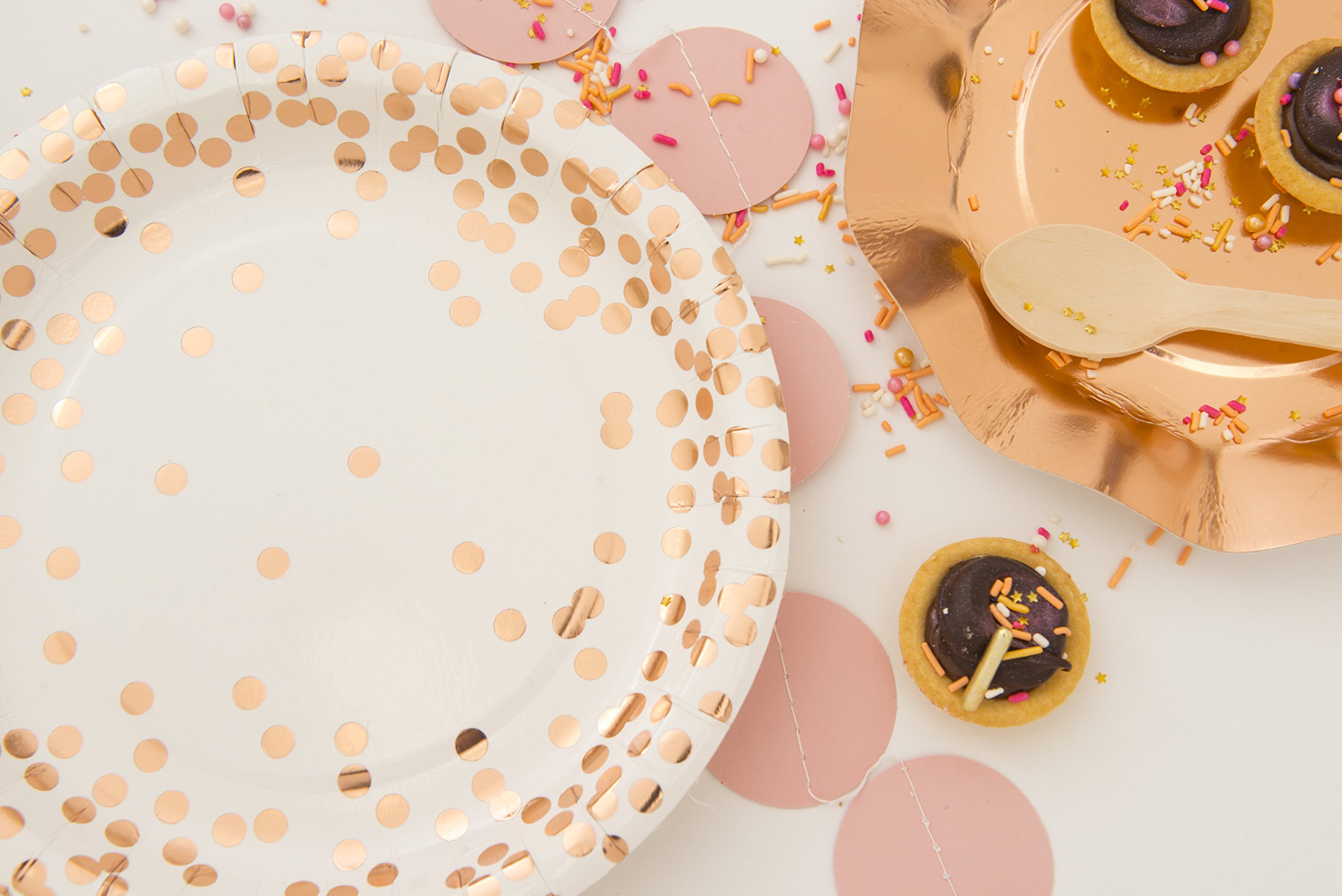 """Cartissimi 10 Schicke Pappbecher aus der Serie """"Rosé Gold Confetti"""" mit Rosa Gold Glänzenden Punkten"""