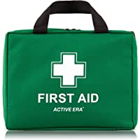 220 Piece Premium First Aid Kit Bag - Includes Eyewash, 2 x Cold (Ice) Packs and Emergency Blanket for Home, Office, Car, Caravan, Workplace, Travel and Sports (Green)