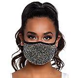 Leg Avenue - Zuri Rhinestone Fashionable Face Mask mascherina con strass con tasca filtro, Taglia Unica