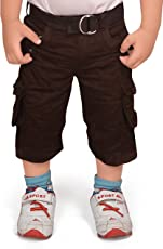 Adbucks Premium Style Rich Cotton Boys Cargo 3/4th Pants With Belt For Boys ( Multi Color)