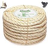Homewit Jute touw henneptouw, 8mm x 25M natuurlijk sisal touw en dik jute touw met een paar handschoenen voor kattenkrabpalen