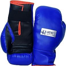 Henco PU Pro Boxing Gloves (Blue, 1 Pair)