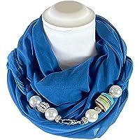 Sciarpa Gioiello Tinta Blu Ottanio Con Perle In Resina E Cristalli Montati In Chiusura. Prodotto Artigianale, Fatto A…