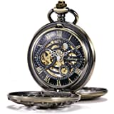 TREEWETO Men's Antique Bronze/Silver Dragon Mechanical Skeleton Pocket Watch for Women with Chain