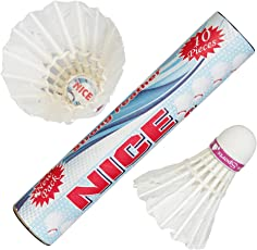 VOXAMIN NC-10 Nice Strong Feather Badminton Shuttlecocks (Pack of Ten).