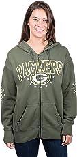 Icer Brands NFL Women's Full Zip Fleece Hoodie Sweatshirt Banner Jacket, Team Color
