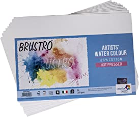Brustro Watercolour Papers 25% Cotton HP 300 GSM A4 2 Packets (Each Pack contains 9 Sheets)