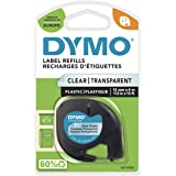 DYMO LetraTag etikettband autentisk | svart på transparent | 12 mm x 4 m | självhäftande plastetiketter | för LetraTag-etiket