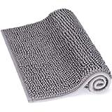 Lifewit Non-slip 61 × 43 cm Chenille Bath Mat, Easy to Clean Bathroom Mats, Soft Shower Rug, Grey