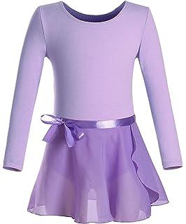 Imixcity Enfant Fille Justaucorps de Gymnastique Ballet Danse Dancewear  Manches Courte Longues avec Self- 05e9009578f