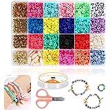 Braleto Cuentas de Arcilla Polimérica 18 Colores, Cuentas Espaciadoras Redondas Planas, Kit de Herramientas para Hacer Joyas