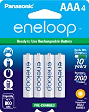 Panasonic BK-4MCCE/4BN eneloop AAA 2100 Cycle Ni-MH Pre-Charged Rechargeable Batteries, Pack of 4