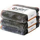 Glart Premium Flausch 3er Set aus ultraweichen Microfasern, anthrazit mit oranger Kante, 40 x 40 cm 443TPO