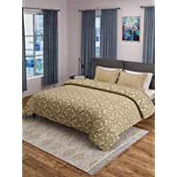 """Saral Home Royalty 100% Cotton Made Bed Cover (90""""X113"""") with 2pc Pillow Covers (17""""x27"""") (King, Beige)"""