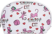 Amazon Brand - Solimo Cosmetic, Makeup & Toiletries Pouch (Happy Cat; White, Purple)