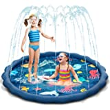 Uiter Tappetino da Gioco Sprinkle e Splash, materassino Gonfiabile Blu con doccetta, Il Gioco Acquatico Estivo Perfetto per B