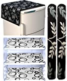 Factcore™ Combo of Knitting Refrigerator Cover(Black Leaf), 2 Handle Cover (Silver) and 3 Fridge Mats (Black Classic…