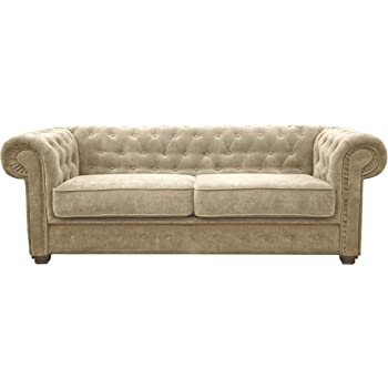 Chesterfield 3 2 Cream Leather Sofa Offer Amazon Co Uk Kitchen Home