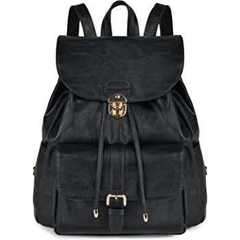 Women Backpack, COOFIT Leather Backpack Women Ladies Rucksack Drawstring  Backpack School Bags Vintage Backpacks for Women Girls (Black) fa7ad84be0