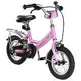Ultrasport Kinderfahrrad 12 ½ Zoll, rosafarbenes Fahrrad für Mädchen ab 3 Jah