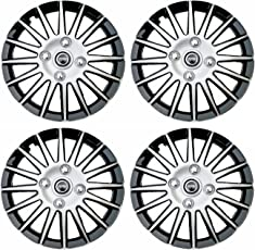 Hotwheelz Sporty Wheel Cover with Rings (Set of 4, Silver and Black)