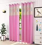 LaVichitra 1 Piece Premium Window Curtain with Floral Net - 5ft, Pink