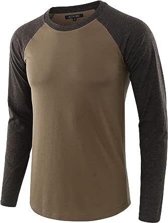 HETHCODE Men's Casual Basic Active Sports Vintage Long Sleeve Baseball T-Shirt