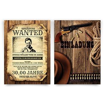 Einladungskarten Zum Geburtstag (60 Stück) Als Wanted Poster Mit Foto  Western Kopfgeld