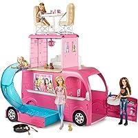 Barbie Mobilier Camping-Car Duplex pour poupées, véhicule rose à deux étages avec quatre couchages, piscine et toboggan…