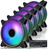 EZDIY-FAB Moonlight Ventilateur de Boîtier PWM RGB 120mm avec Moyeu de Ventilateur RGB PWM,Synchronisation de Carte Mère 5V,V