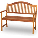 GardenCo 2 Seat Serpentine Garden Bench - Outdoor and Indoor - Hardwood Garden Furniture (2 Seat Bench)