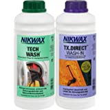 Nikwax Tech tvättmedel + TX direkt impregnering, 2 x 1 liter för funktionella kläder.