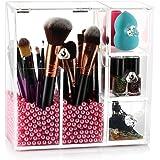 HBF Porta Pennelli Make Up Acrilico Rigido con Decorazione Perline in Acrilico Rosa Organizzatore Cosmetici Multifunzionale O