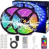 Ruban LED Bluetooth, ALED LIGHT Bande LED Étanche 2x5M(10M) 5050 RGB 300 LEDs, Contrôlé par APP du Smartphone Android et IOS,