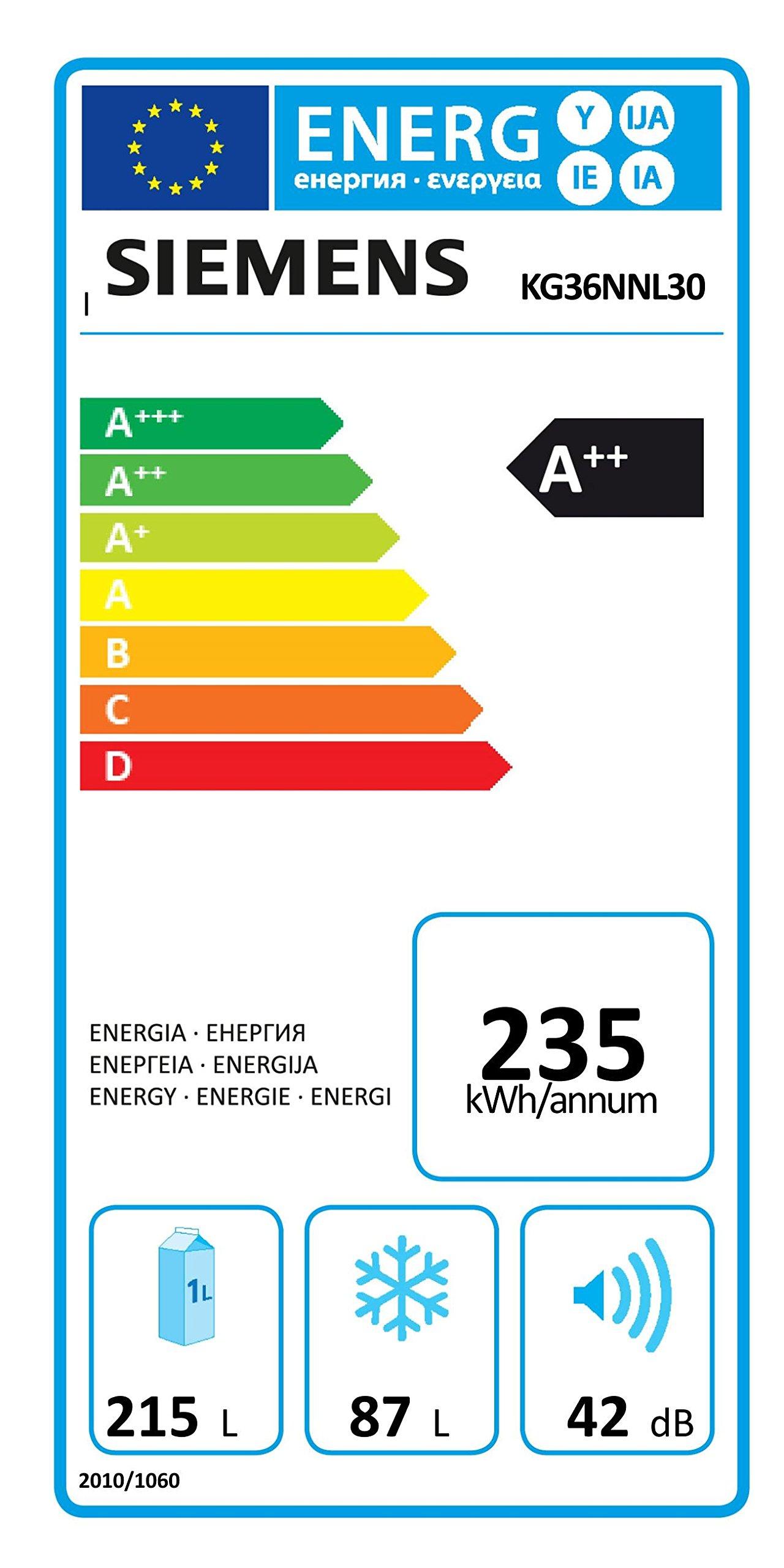 Siemens iQ100 KG36NNL30 Kühl-Gefrier-Kombination / A++ / Kühlteil: 215 L / Gefrierteil: 87 L / MultiAirflow-System…