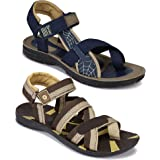 WORLD WEAR FOOTWEAR Men's (9223-9111) Casual Stylish Sandals (Set of 2 Pair)