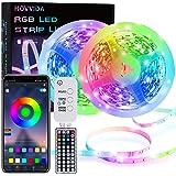 15M LED Strip, HOVVIDA Bluetooth Muziek LED-strip voor Kamer, Aangestuurd door APP, IR-afstandsbediening en Controller, 16 Mi