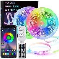 Ruban LED, HOVVIDA 15M Bluetooth Bande LED RGB 12V, Contrôlé par APP, IR Télécommande et Contrôleur, 16 Millions de…