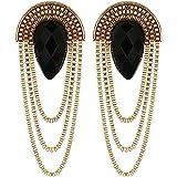 Shining Diva Fashion Black Gold Stylish Fancy Party Wear Earrings For Women & Girls