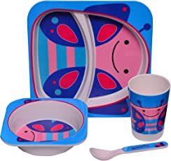 Purpledip Plastic Kid's 5 pieces Dinner Set - Plate with 2 slots, Bowl, Glass, Spoon & Fork (Multicolour, Standard Size)