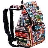 Baeres Rucksack Hippie Backpack Freizeitrucksack Bunt Multicoloured Patchwork Daypack Tagesrucksack für Damen Vintage