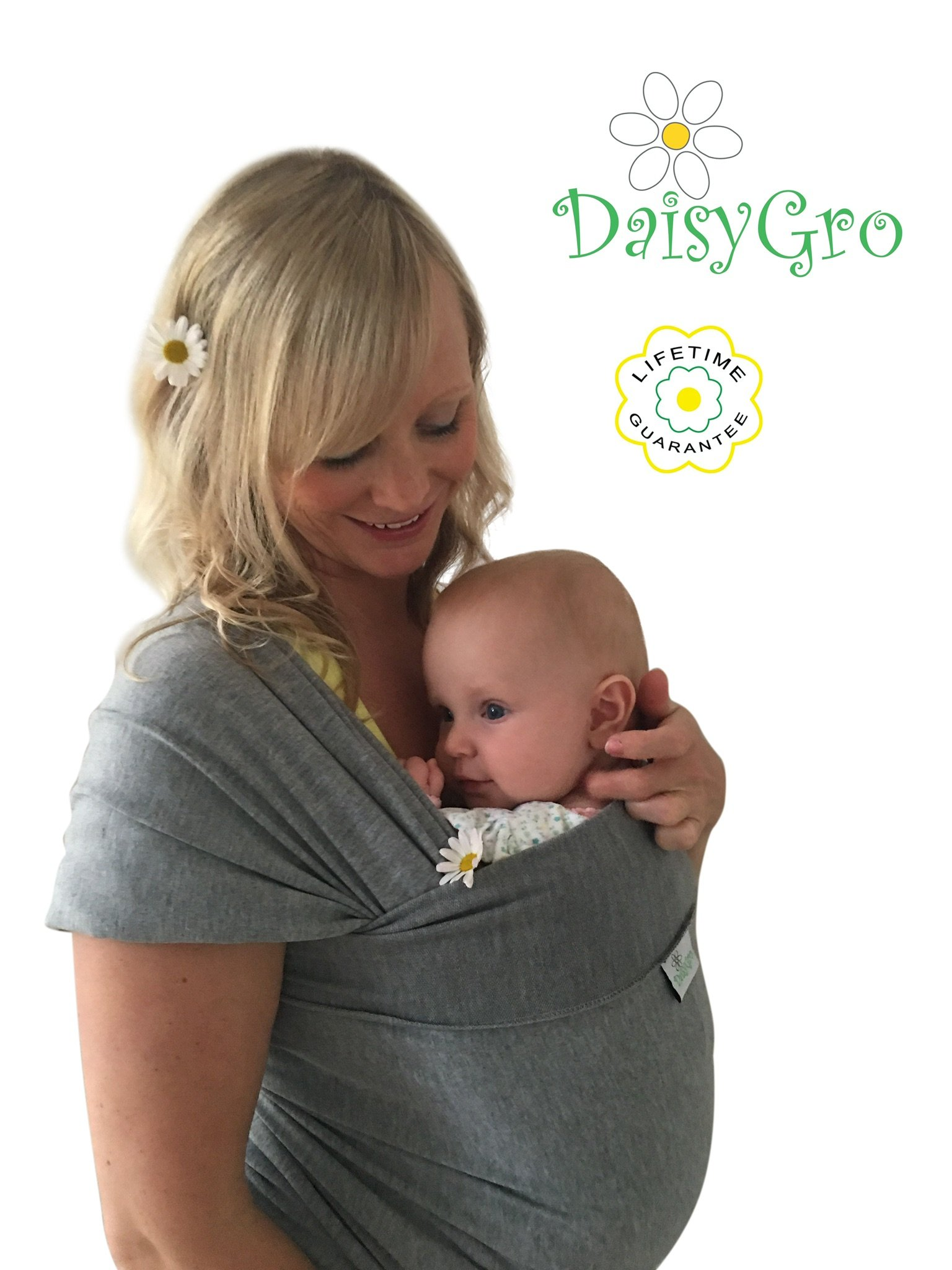 •Sale!• DaisyGro® Premium Baby Sling Carrier | Plus Size 16+ | Baby Wrap | Newborns, Infants, Toddlers | Breastfeeding Cover | Breathable Soft Cotton | Grey | Ideal Gift DaisyGro A SECURE BOND created making baby happy and content close to your warm body where he/she can hear your heartbeat. FREE HANDS for everyday tasks around the home or out in the world. Also a great idea for walking your way back to your PRE-PREGNANCY FITNESS level without the need to find childcare! All this whilst your baby is warm and snug close to you. 2 SIZE OPTIONS and EASY TO USE versatile design with no straps or buckles - comfortable for both baby and you! Researched and manufactured to the perfect length. Can be used for different holds. Perfect for breastfeeding. Safe for newborns, babies and toddlers up to 35 lbs. Comes in a handy bag so the wrap can be stored away when not in use. 1